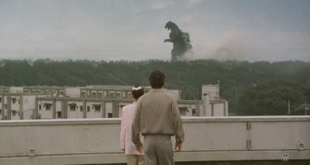 Godzilla walks across countryside