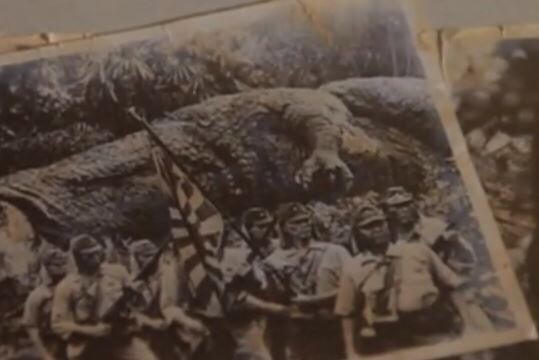 WW II soldiers with dinosaur